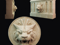 Lion head on a bas-relief