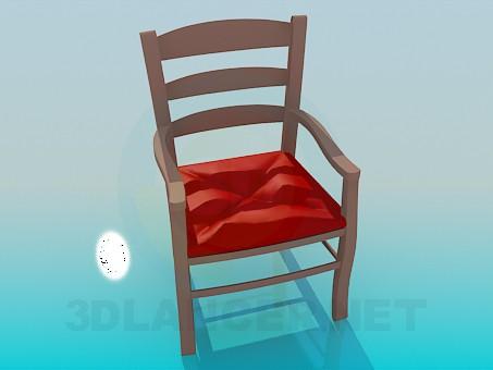 3d модель Деревянный стул с мягкой сидением – превью