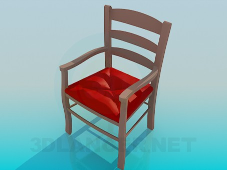 3d model Wooden chair with upholstered seat - preview