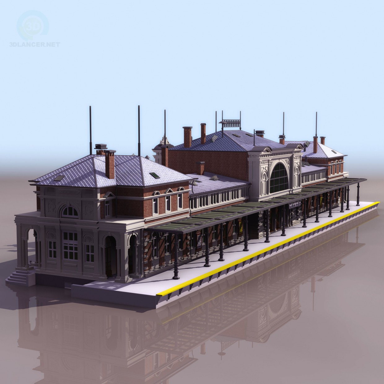 3d model Railway_Station_Building - preview