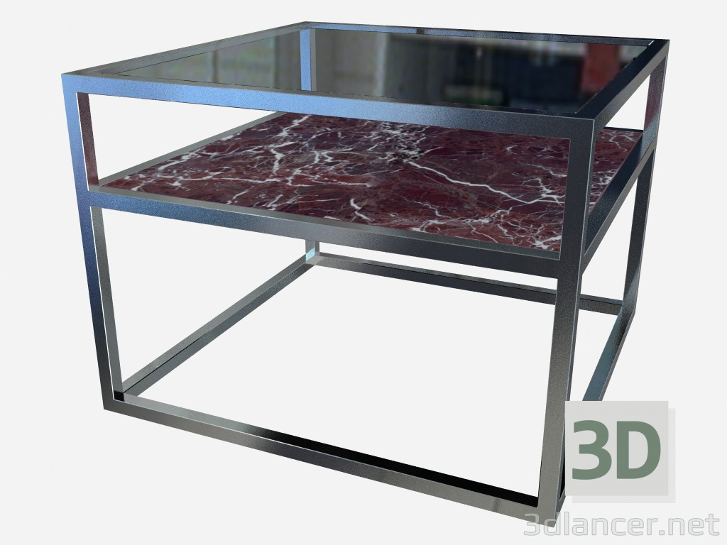 3d model Square coffee table with extra shelf Carmen Z03 - preview