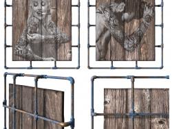 प्राकृतिक लकड़ी के बोर्ड पर पेंटिंग। मचान-शैली।