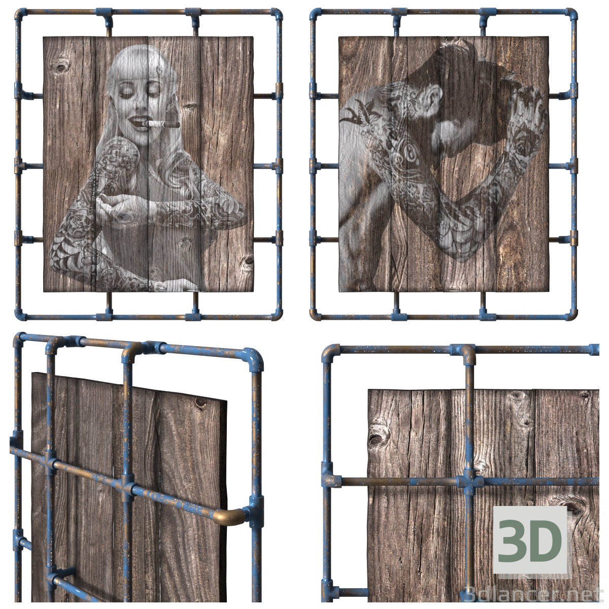 3d Painting on natural wooden boards. The loft-style. model buy - render