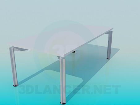 modelo 3D Escritorio rectangular para oficina - escuchar