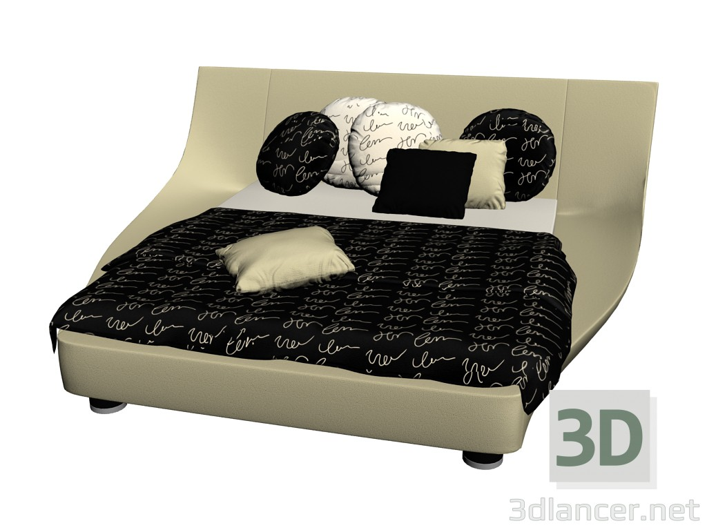 3d model bed with wide headboard cocoon manufacturer ruf. Black Bedroom Furniture Sets. Home Design Ideas
