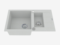 Lavello da 1,5 vasche con scarico corto - Rapido in metallo grigio (ZQK S513)