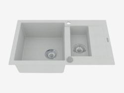 Fregadero de 1,5 tazas con un drenaje corto - metal gris Rapido (ZQK S513)