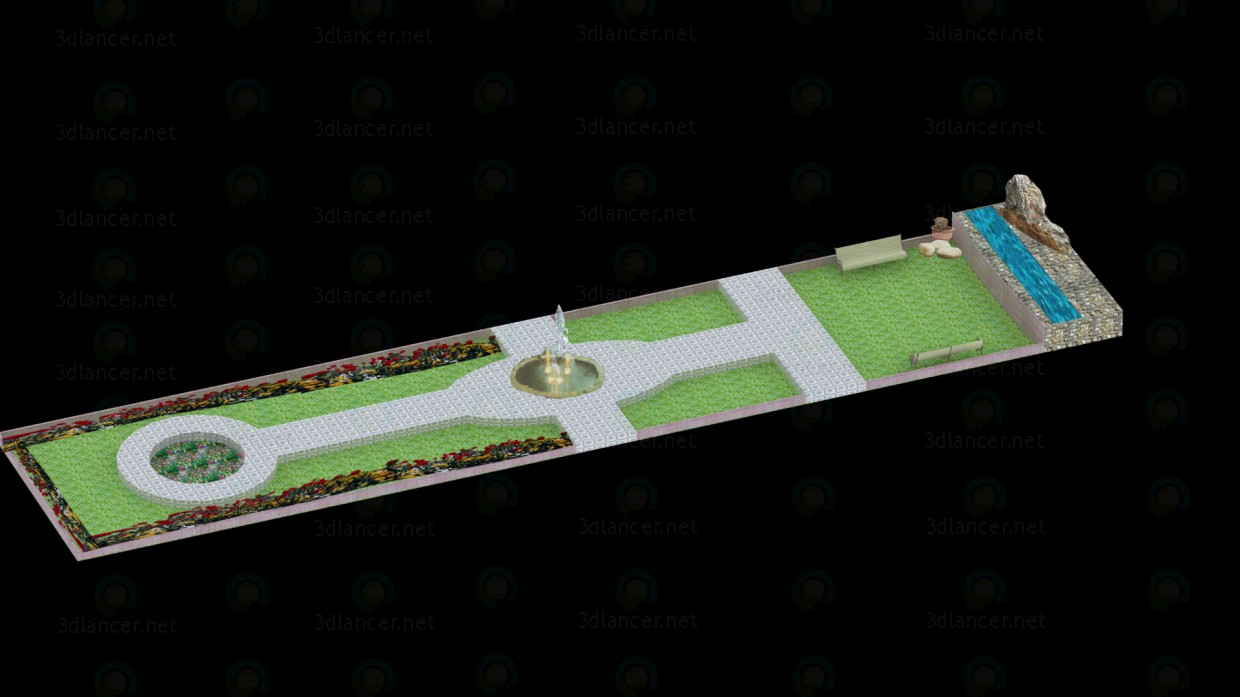 3d model 22'x104' park, max(2009), - Free Download | 3dlancer net