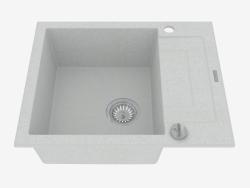 Fregadero, 1 recipiente con un ala para secar - metal gris Rapido (ZQK S11A)