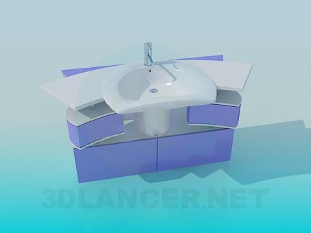 3d моделирование Раковина с выдвижными ящиками модель скачать бесплатно