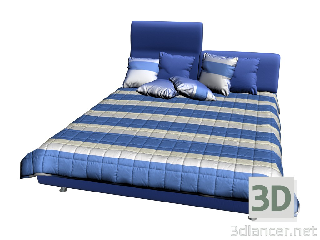 3d model bed invito with 1 high headboard manufacturer. Black Bedroom Furniture Sets. Home Design Ideas