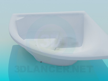 3d model Corner bath with place for seating - preview