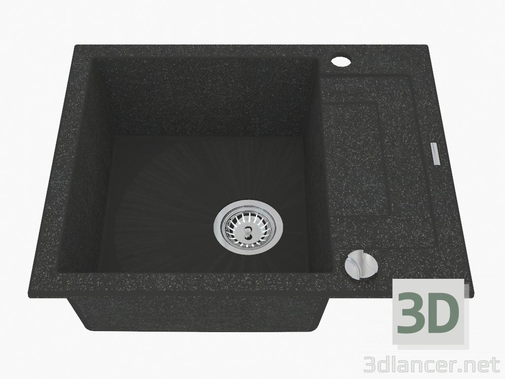 3d model Fregadero, 1 recipiente con un ala para secar - grafito metálico Rapido (ZQK G11A) - vista previa