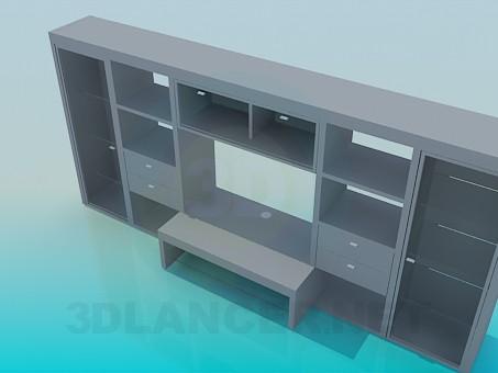 3d модель Сткенка-шкаф со встроенным письменным столом – превью