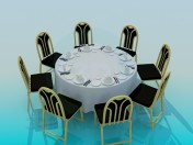 Round table  laid for  8 persons