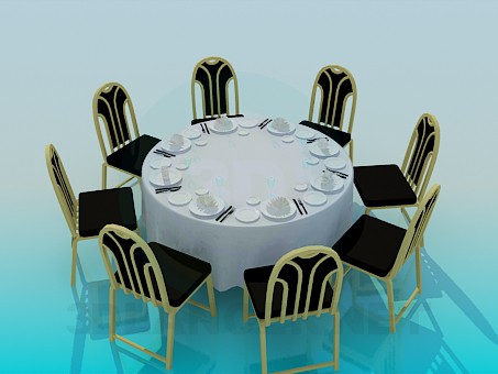 3d model Round table laid for 8 persons - preview
