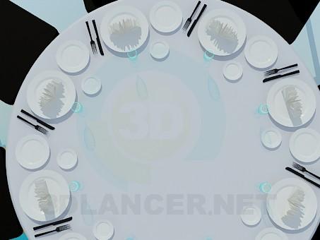 3d модель Круглый стол накрытый на 8 персон – превью