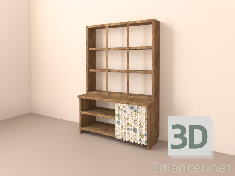 Modelo 3d Rack para panelas com cortina - preview