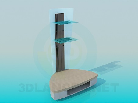 3d model The triangular televisions stand with racks for remotes - preview