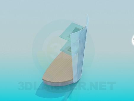 3d модель Трикутна телевізорних підставка з поличками для пультів – превью