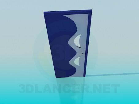 3d модель Двері з хвилястим візерунком – превью
