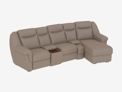 Leather sofa with bar and bed