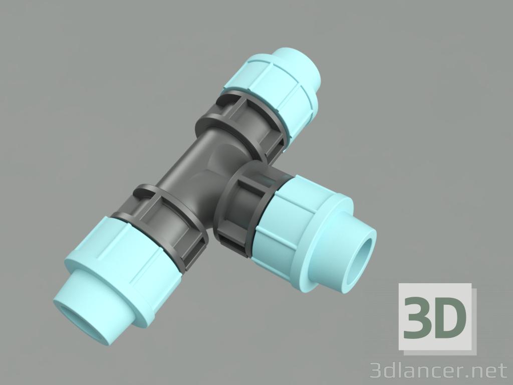 3d PE tee model buy - render