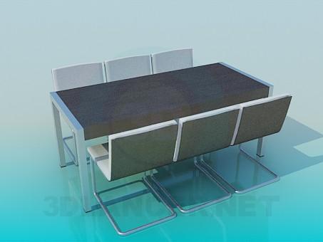 modelo 3D Oficial mesa con sillas - escuchar