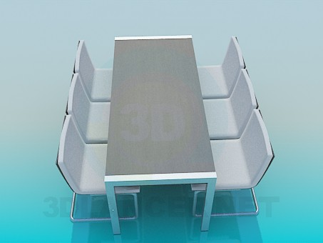 3d модель Официальный стол со стульями – превью