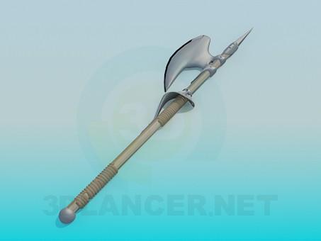 modelo 3D Una lanza con un hacha - escuchar