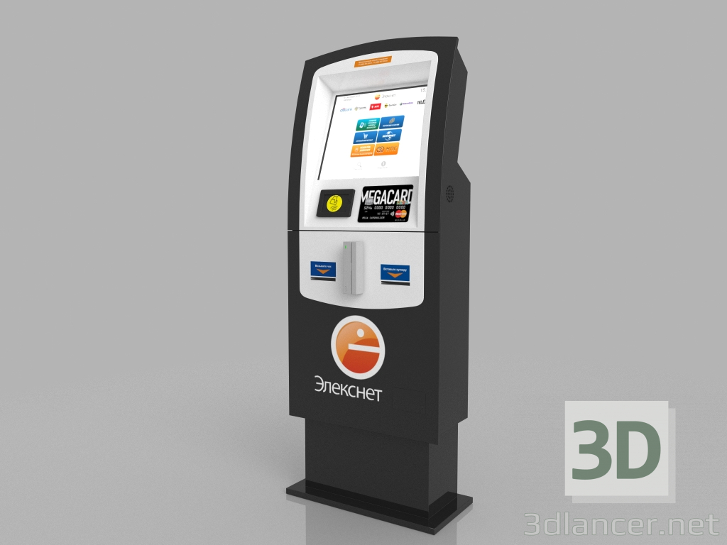 "3d Payment terminal ""Eleksnet"" model buy - render"