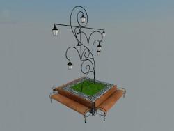 banc avec une lanterne