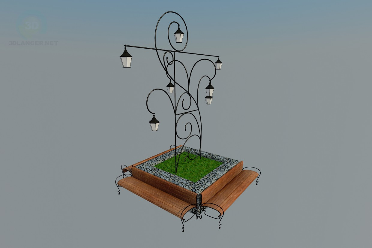 3d model bench with a lantern - preview