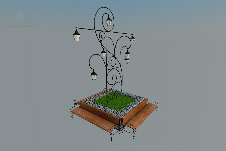 3d модель Скамья с фонарем – превью