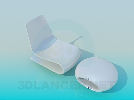 modelo 3D Silla y mesa de centro en el conjunto de - escuchar