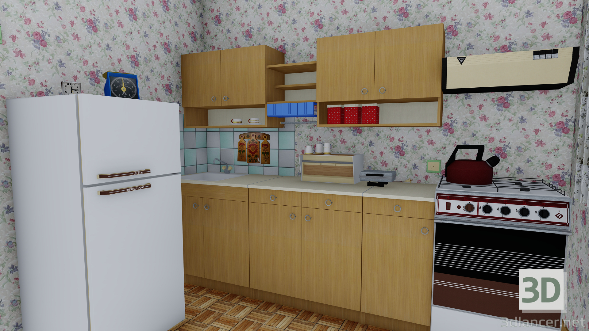 3d Panel five-story building with a Soviet apartment from the 80s model buy - render