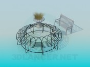 Circular wrought-iron bench