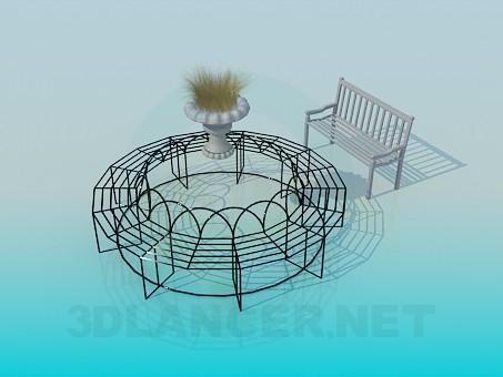 3d моделирование Круговая кованая лавочка модель скачать бесплатно