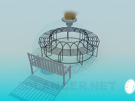 3d модель Круговая кованая лавочка – превью
