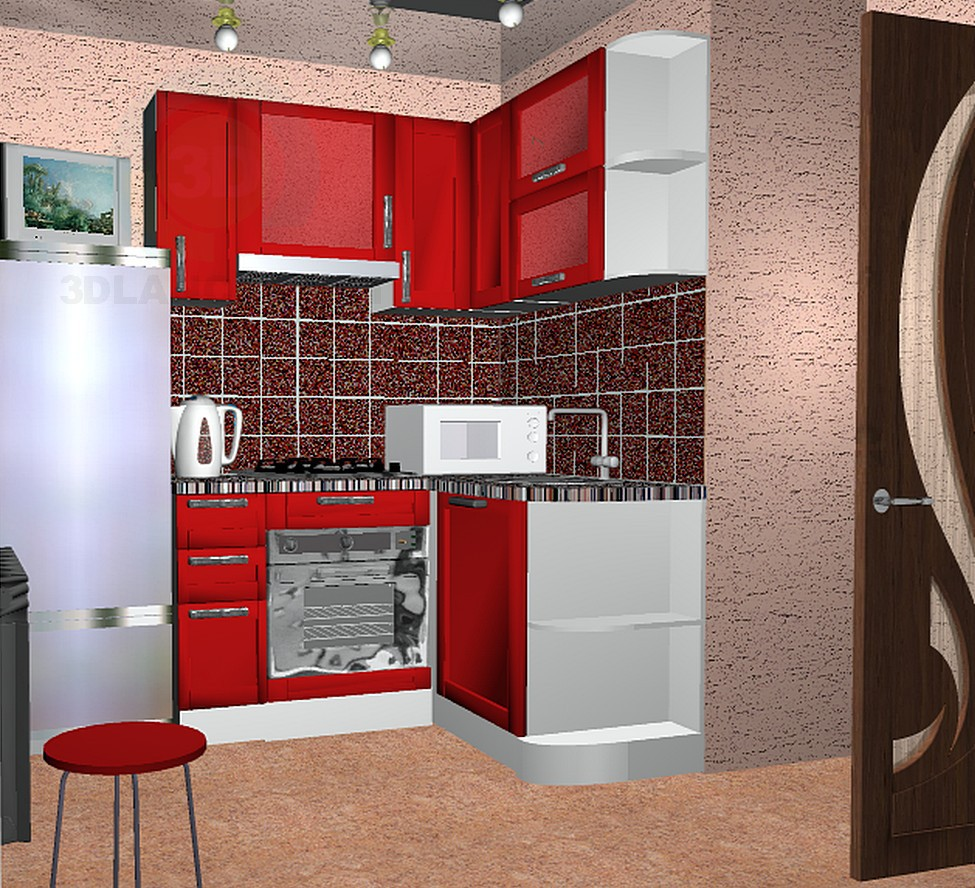 3d model mini kitchen - preview
