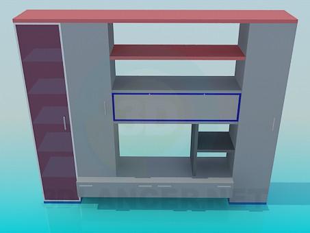 3d моделирование Небольшая мебельная стенка модель скачать бесплатно