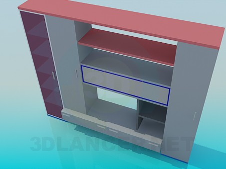 modelo 3D Unidad de pared muebles pequeños - escuchar