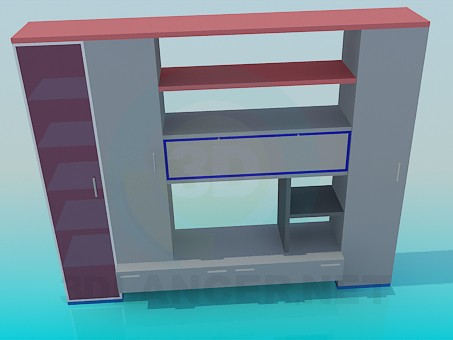 3d model Small furniture wall unit - preview