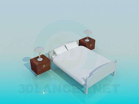 3d modeling Double bed with bedside tables model free download
