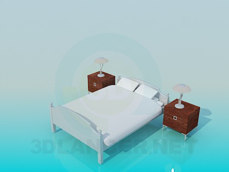 3d model Double bed with bedside tables - preview