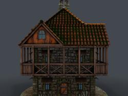Modello 3d di casa medievale