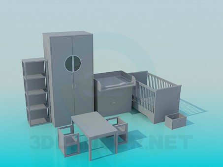 3d modeling The children's room furniture set model free download