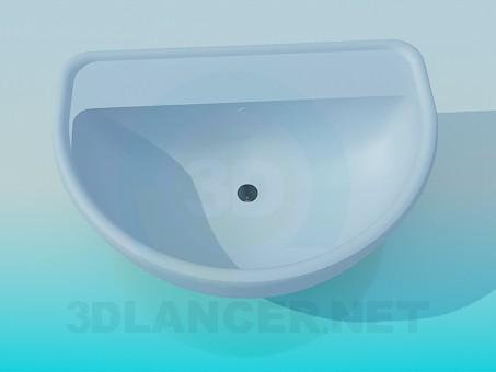 3d model Blue wash basin - preview