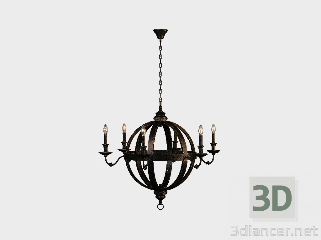 3d model Chandelier MEDIEVAL METAL ORB CHANDELIER (CH029-8-ABG ...