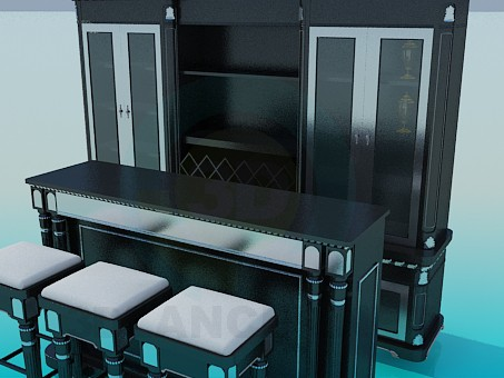 3d model Bar in the kitchen - preview